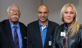 Dr. Milton Gumbs, Vice President/Medical Director; Dr. Sindhaghatta Venkatram, Director, Graduate Medical Education/Attending, Pulmonary and Critical Care; and Marisol Rivera, Assistant Director, Graduate Medical Education.