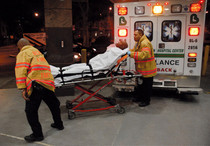 Patient being brought into ER by BronxCare ambulance.