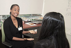 Demetria Nelson, LCSW, Administrative Director, Life Recovery Center,  counseling patient.