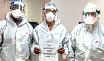 "BronxCare Anesthesiology Team holding up ""Thank You"" sign to vendors for their PPE donations."